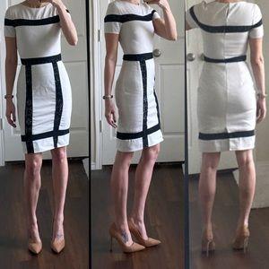 White black lace cut outs panels midi dress